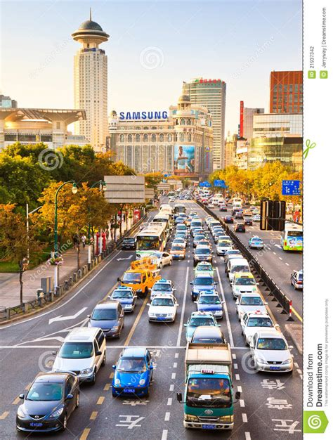 busy traffic shanghai china editorial photography image