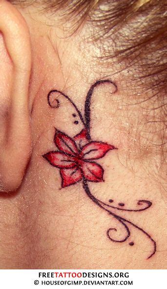 pictures of small tattoos behind the ear cross tattoos for ear here s the flower