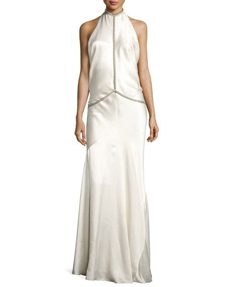Sale Backless Chain Gown wang fishbone chain backless satin evening gown white