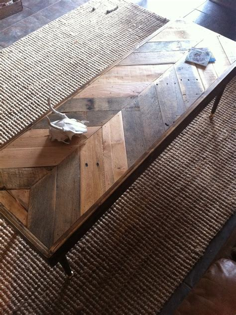 reclaimed barn wood chevron coffee 1000 images about herringbone tables on glass