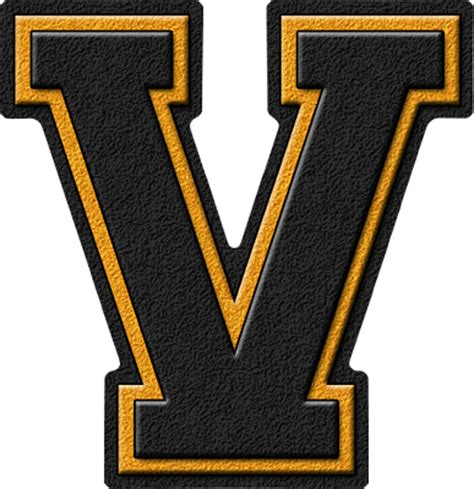 College With Letter V Presentation Alphabets Black Gold Varsity Letter V