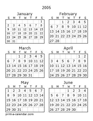 download 2005 printable calendars