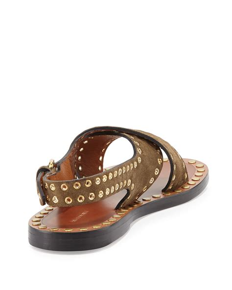 marant sandals marant suede studded sandals in brown lyst