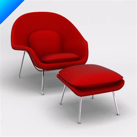 knoll womb chair knock 3d 3ds womb chair ottoman knoll