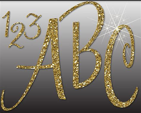 Alphabet And Number Wall Stickers glitter gold alphabet digital clipart letters numbers