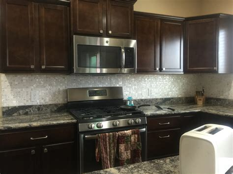 cabinets and dyi of pearl kitchen backsplash