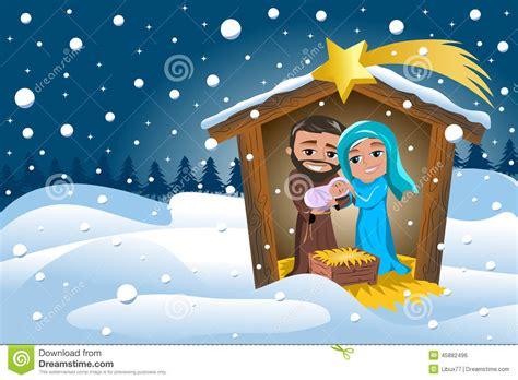 Wonderful Nativity Christmas Cards #2: Christmas-nativity-scene-winter-snowy-joseph-holding-newborn-jesus-sleeping-his-arms-mary-caressing-him-manger-45882496.jpg