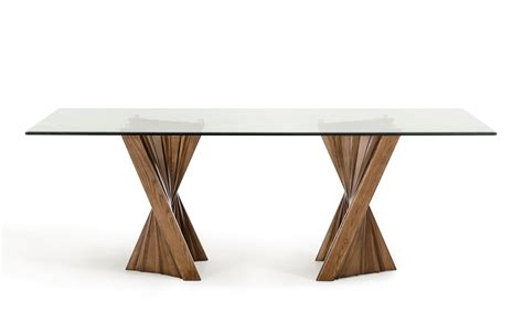 Walnut And Glass Dining Table Modrest Corbin Mid Century Walnut Glass Dining Table