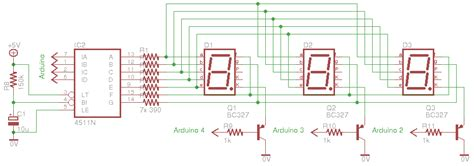 7 segment 4 digit multiplexing with 4511