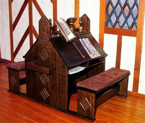 Corner Bench Medieval Scriptorium Desk Dollhouse Miniature 1 12 Scale