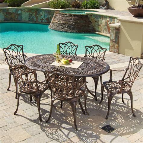 oval aluminum patio table gardena cast aluminum 7 outdoor dining set with oval