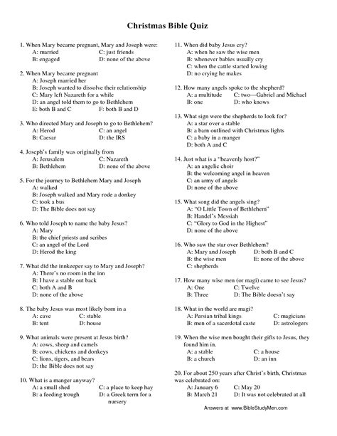 printable christmas bible trivia games 18 best images of bible worksheets questions and answers