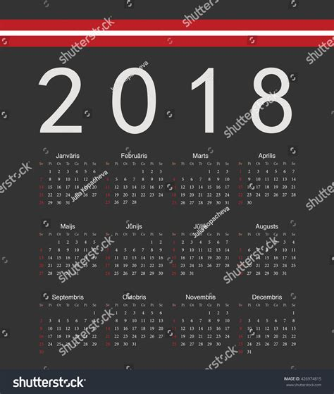 Latvia Calend 2018 Square Black Latvian 2018 Year Vector Calendar Week