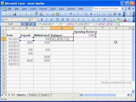Checkbook Register In Ms Excel Youtube Cheque Template Excel