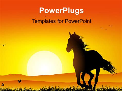 powerpoint themes horse powerpoint template sunset in distance with silhouette of