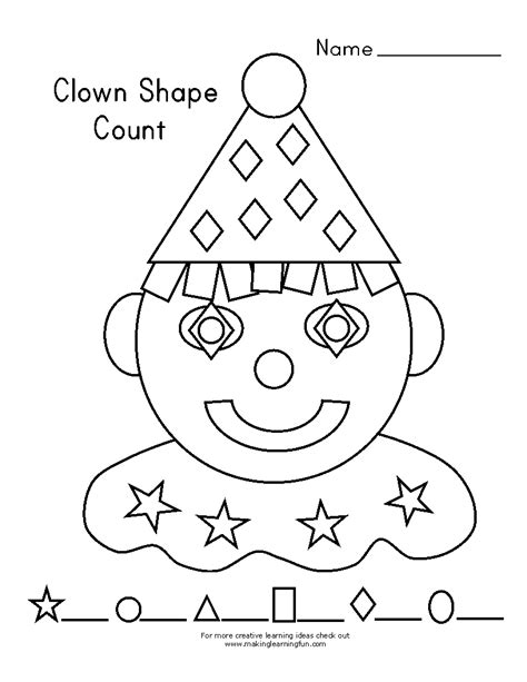 Clown Worksheets by Learning Printables For