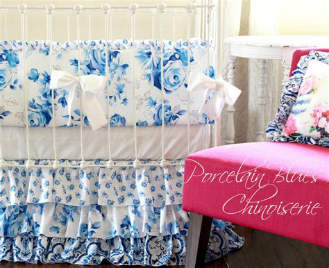 Blue And White Crib Bedding Shabby Chic Baby Crib Bedding Porcelain Blue And White