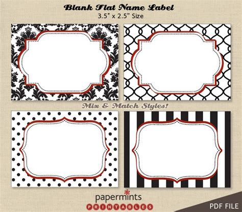 printable blank name labels for dessert table holiday tag