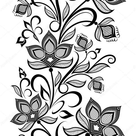black and white vintage pattern bedding seamless black and white floral vintage vertical vector