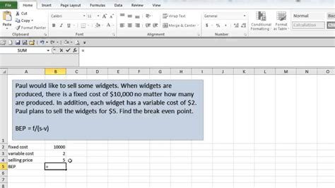 Even Point Excel Template by Even Point In Excel
