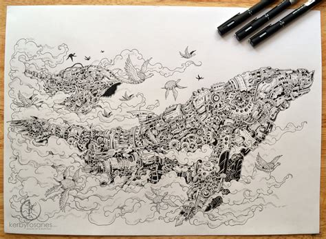 pen and ink doodle kerby rosanes doodler by lost in