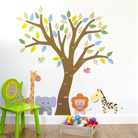 jungle tree wall stickers jungle tree fabric wall sticker by mirrorin