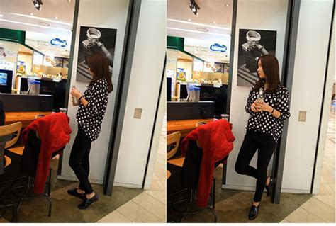 Baju Wanita Sweater Lengan Panjang Hitam Putih Polkadot kemeja sifon wanita korea polkadot model terbaru jual
