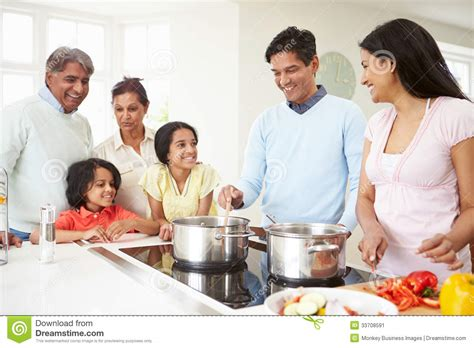 family in kitchen multi generation indian family cooking meal at home stock image image 33708591
