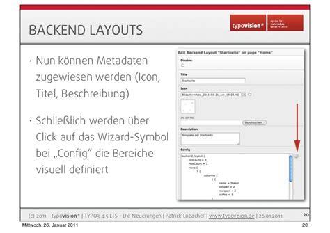 typo3 backend layout grid elements typo3 4 5 lts die neuerungen auf einen blick