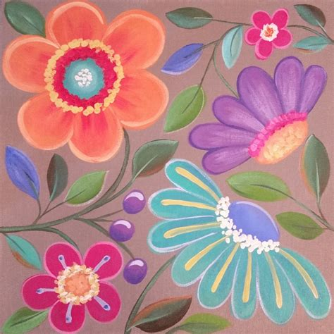 Easy Whimsical Flowers Acrylic Painting Tutorial For