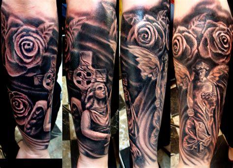 rose and angel sleeve tattoo flowers and on sleeve
