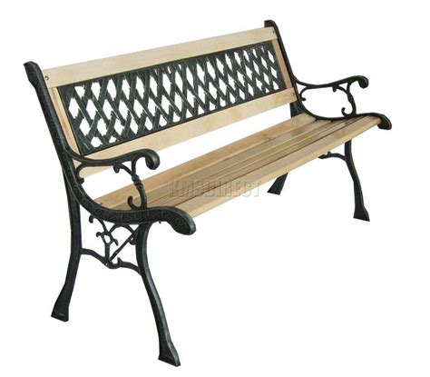 cast iron park bench legs foxhunter 3 seater wooden slat garden bench lattice style