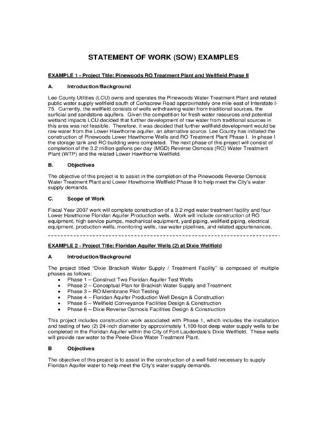 how to write a statement of work template statement of work exle free