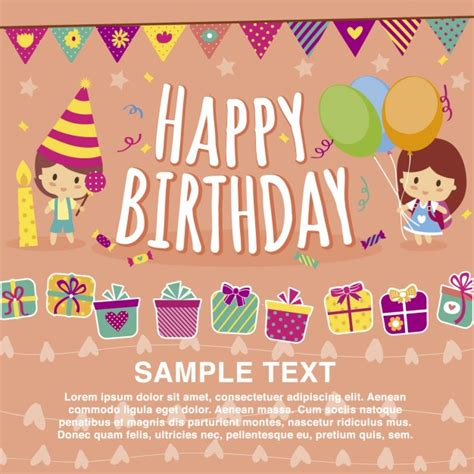 6 year birthday card template happy birthday card template vector free