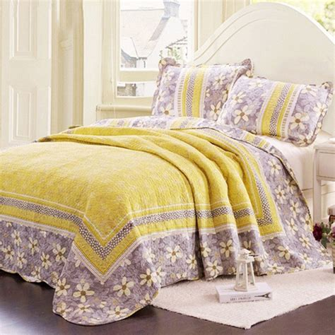 Coverlet Blanket Yellow And Grey Floral Patchwork Coverlet Set Cotton