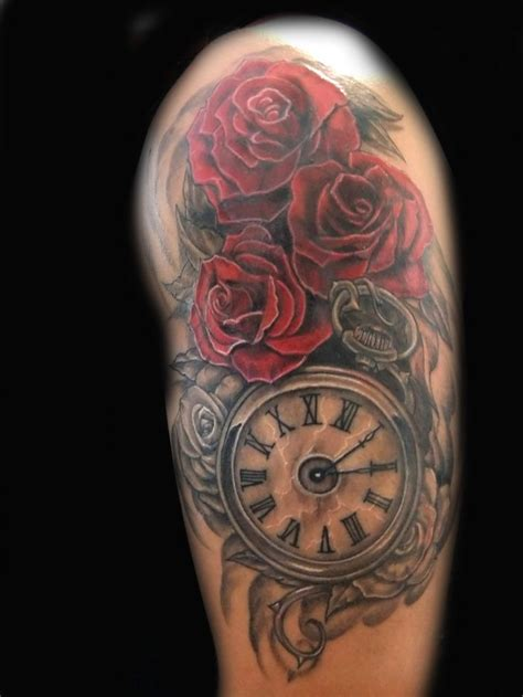 clock and rose tattoos pin by garrett on tattoos piercings