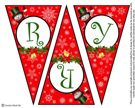 Diy Free Printable Christmas Banner Vanitha Made Me Merry Letter Banner Template