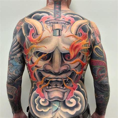 hannya mask tattoo back piece crimson empire tattoo