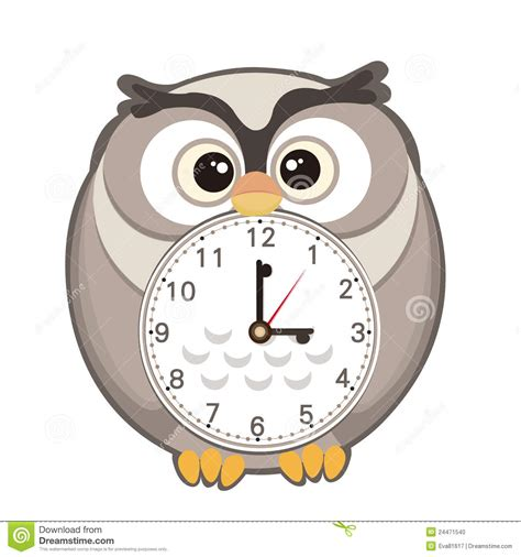 Jam Alarm Owl clock stock illustration illustration of