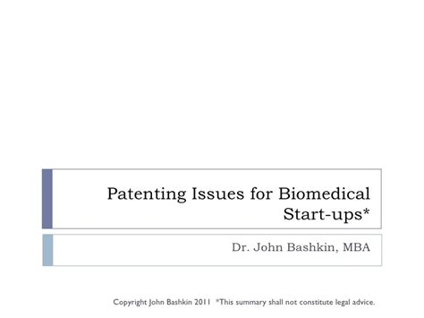 Mba Issues by Patenting Issues For Biomedical Start Ups