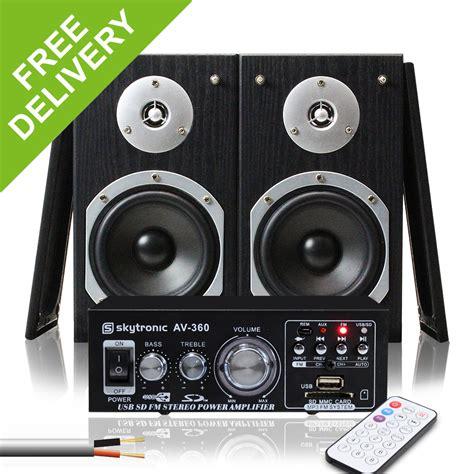 2x skytronic 5 quot hi fi bookshelf speakers lifier home