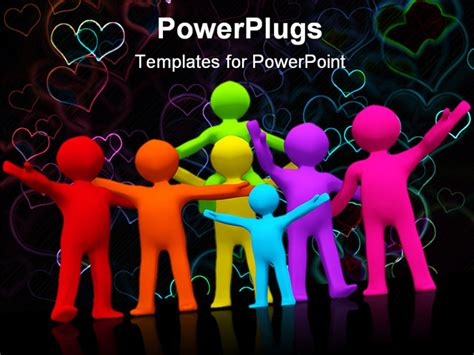 powerpoint templates love and friendship a group of happy families and friends powerpoint template