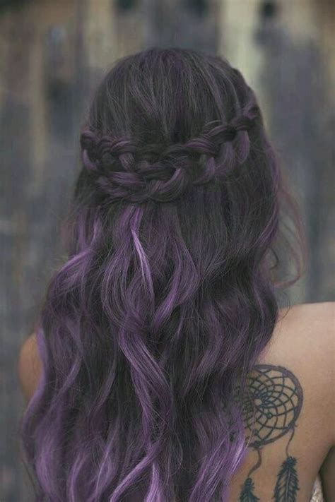 25 best ideas about purple hair streaks on purple streaks colored highlights and