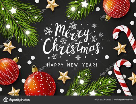 merry christmas happy  year greeting card holiday decorations stock vector  huhli