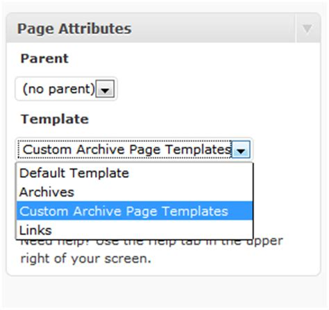 archive page template archive page on using custom page template