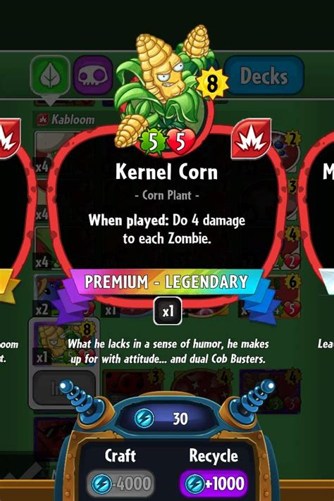 Pvz Heroes Card Template by Kernel Corn Plants Vs Zombies Heroes Plants Vs