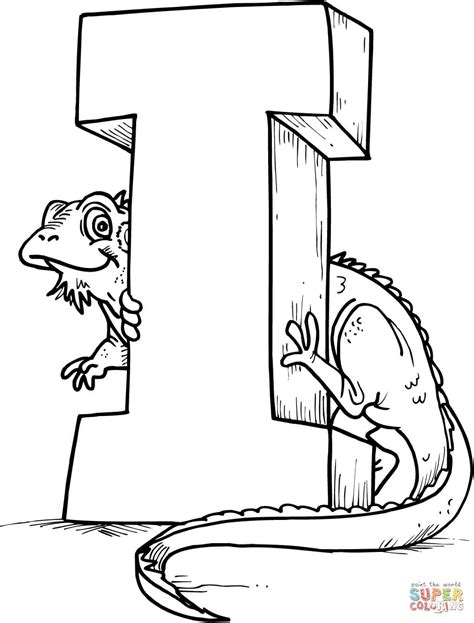 i coloring pages letter i is for iguana coloring page free printable