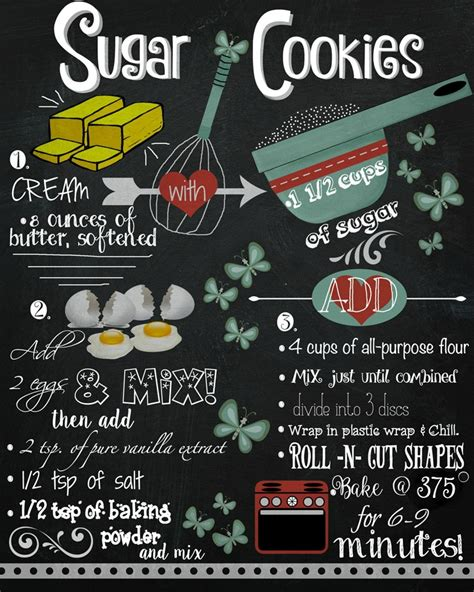 printable recipes for sugar cookies sugar cookie recipe chalkboard printable the bearfoot baker