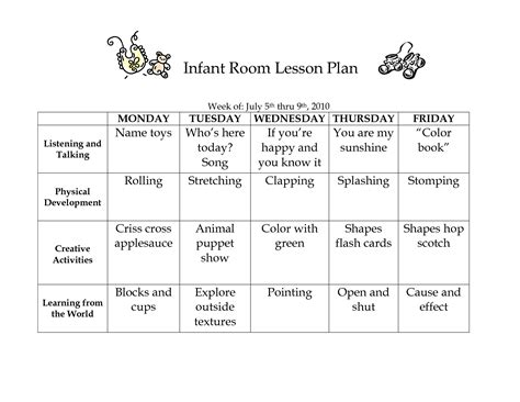 printable infant toddler lesson plans infant room lesson plan westlake childcare by linzhengnd