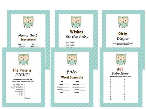 Baby Shower Gams by Owl Baby Shower Set Magical Printable